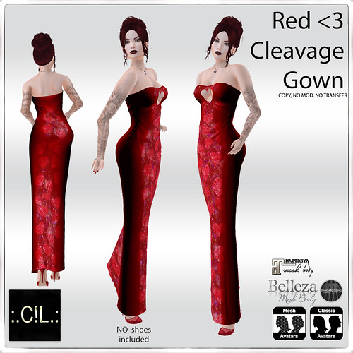 :.C!L.: Red <3 Cleavage Gown Set Add