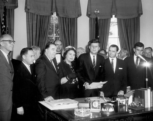 West Virginia delegation with President Kennedy at the signing of the ARA, 1961