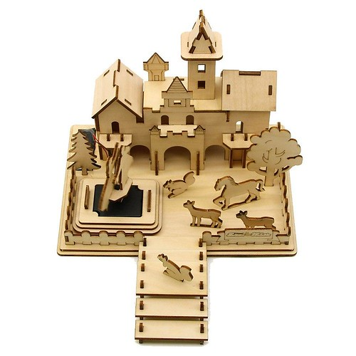 DIY Kits Wooden 3D Castle Puzzle Educational Mechanical Toy Solar Snow White Toys Table Decor Gift For Kids