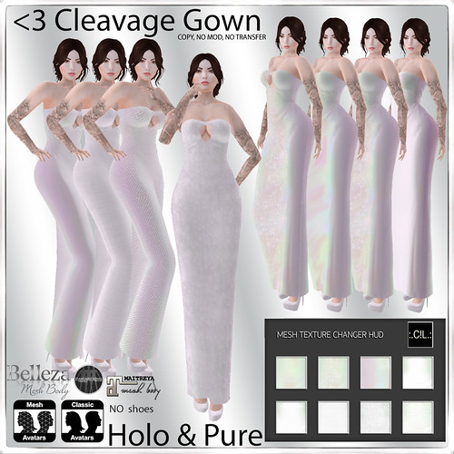 :.C!L.: Holo & Pure White Tones Hud <3 Cleavage Gown Set Add