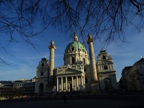 Wien, 4. Bezirk (the art of Baroque buildings of Vienna), Karlskirche, chiesa di San Carlo Borromeo, Iglesia de San Carlos Borromeo (Viena), Église Saint-Charles-Borromée (Vienne), St. Charles's Church, Vienna (Karlsplatz)