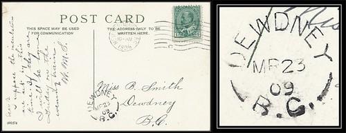 British Columbia / B.C. Postal History - 23 March 1909 - New Westminster, B.C. (machine cancel) to DEWDNEY, B.C. (split ring / broken circle cancel / postmark)