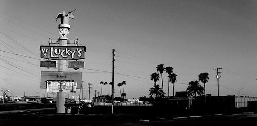 Vintage Arizona: Historic 1966 Mr. Lucky's Sign, Phoenix, AZ (b-w)