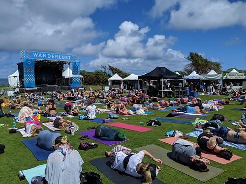 2019: roll to the side as they awake from savasana at Wanderlust MC Yogi Yoga Class