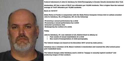 Federal Indictment of John D. Salisbury for Child Pornography in Greater Unsafe Amsterdam New York