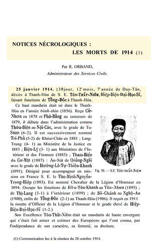 BAVH 1-1915 - Notices Nécrologiques - LES MORTS DE 1914 (1) - Ông Thất Niệm (hoặc là Tôn Thất Thiệm)