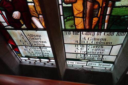 War memorial window detail - Pitcher and Piano, Nottingham