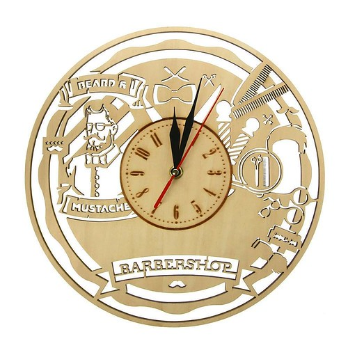 Vintage Barber Shop Wooden Wall Clock Beauty Salon Wall Art Decor Silent Sweep Clock Watch Hairdresser Gift Shaving Barber Tools