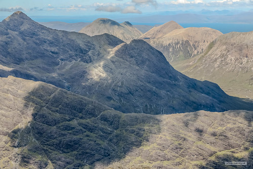 Black and Red Cuillins of the Isle of Skye, under shadows of passing clouds, from the summit of Sgùrr Alasdair, 993 metres (3,258 feet).