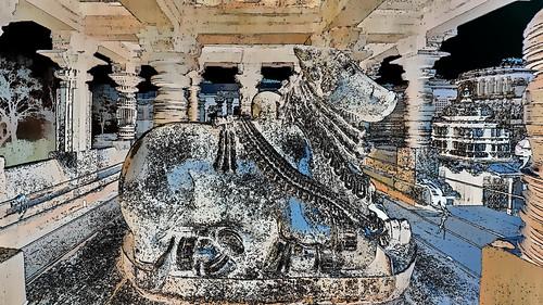India - Karnataka -  Halebid - Hoysaleswara Temple - Nandi - 42g