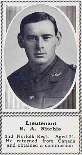 Lieutenant Richard Ayres Ritchie, (Overstrand), 2nd Norfolks KiA Ctesiphon 1915