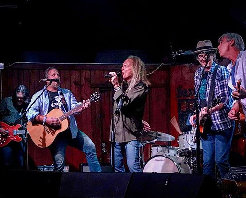 This is a portrait of serious fun. Great players and good dudes. Last night's Brother Chris Berardo's SXSW Showcase with me and Handsome Bill Kelly, John Chipman (Band of Heathers), Bill Small (Walt Wilkins and the Mystiqueros) and David Abeyta ( Reckless