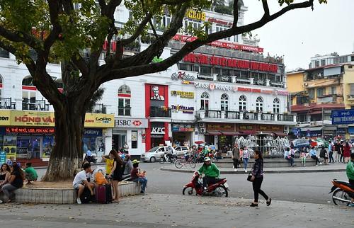 The streets around Hoan Kiem Lake in the capital Hanoi.