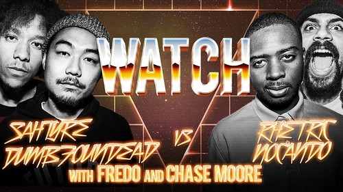 WATCH: DUMBFOUNDEAD & SAHTYRE vs NOCANDO & RHETERIC with FREDO and CHASE MOORE