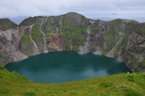Summit crater and crater lake of Kasatochi volcano, August 6, 2008