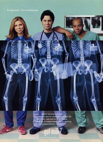Scrubs TV Show : Sarah Chalke, Zach Braff and Donald Faison: Scrubs Cast – Got Milk 2002