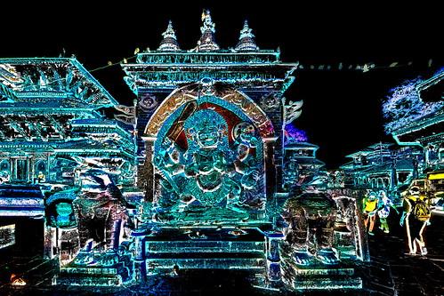 Nepal - Kathmandu - Durbar Square - Kala Bhairava Statue - 1dd