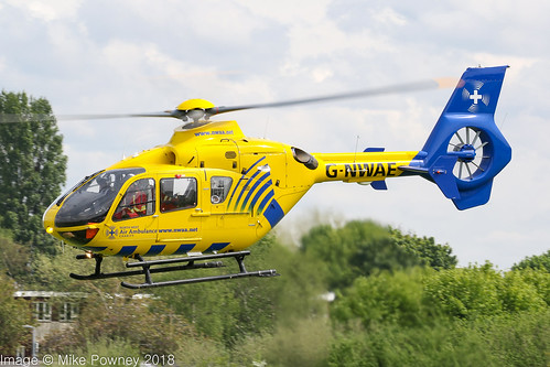 G-NWAE - 2003 build Eurocopter EC135 T2, inbound to the Heliport at Barton