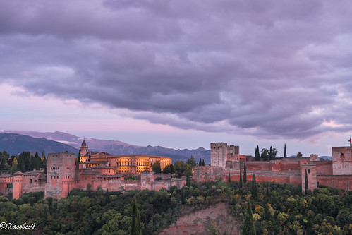 Alhambra Fortress Sunset Granada Spain Andalusia