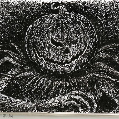 Scribble Ink Drawing of Pumpkin Scarecrow - Scribble Art