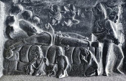 India - Tamil Nadu - Mamallapuram - Mahishasura Mardini Cave Temple - Seshasayi Vishnu Panel - 15d