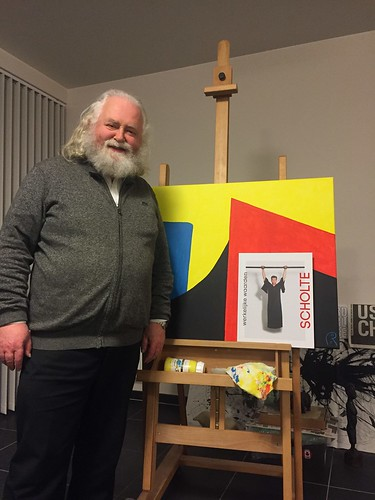 Jan Theuninck at Atelier Halle -  22.12.18 with book about Rob Scholte