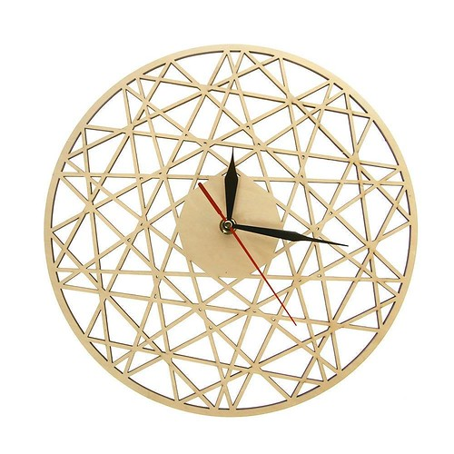 Polygonal Modern Geometry Wooden Wall Clock Cobweb Contemporary Style Laser Cut Living Room Clock Housewarming Gift Home Decor