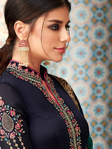 Karma 14040 Series by Karma Trendz From Series 14040 To 14045 Beautiful Colorful Fancy Stylish Designer Dress Collection Ethnic wear Collection Indian Wear Collection Party Wear & Ocassional Wear & Traditional Indian Wear Satin Georgette Dresses At Wholes