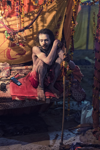 Sadhu on a swing