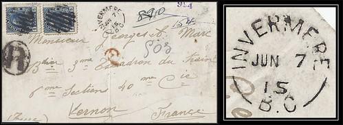 British Columbia / B.C. Postal History - 7 to 26 June 1915 - INVERMERE, B.C. (split ring / broken circle cancel / postmark) via GOLDEN, B.C. / Montreal, Quebec to Vernon, Eure, France (front)