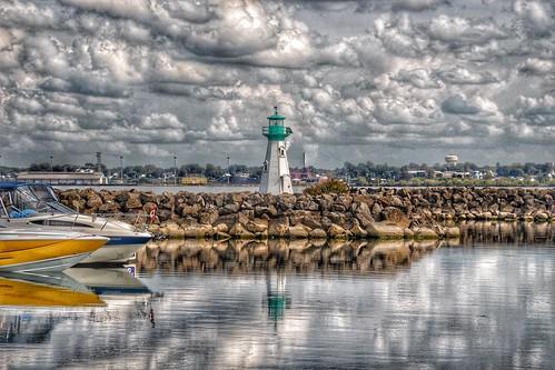 Prescott Ontario - Canada -  Sandra S Lawn Harbour  and Marina - Reflection - Light House