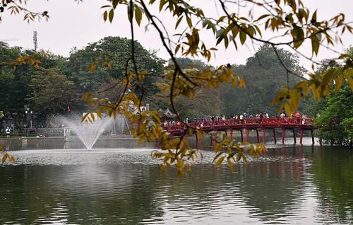 The Huc Bridge at Lake Hoan Lake in Hanoi.
