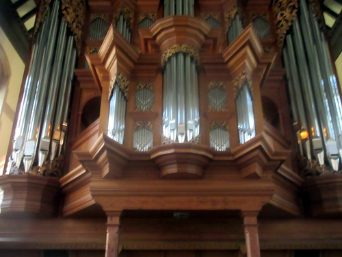 Close-Up of Baroque Organ in Chapel