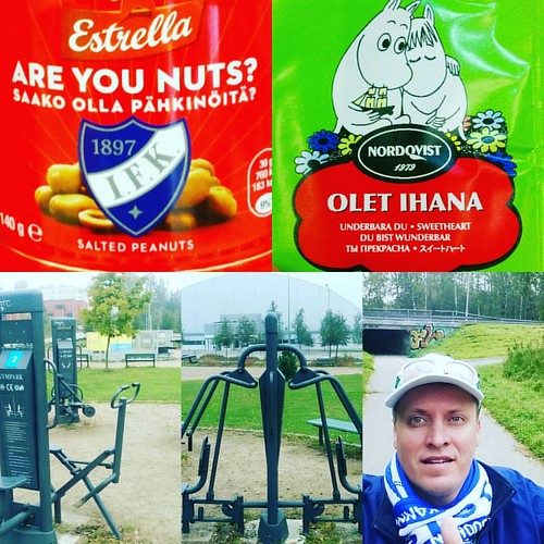 #Morning 🌅 #Jog 🏃 #HIFK #Are #You #Nuts 😂 #Olet 🚸 #Ihana 💒 #Tea ☕  #ItäHelsinki 🌍 #Outdoor #Gym 🔩 #Equipment #SMJK #Finland  #National #Team #Supporters #Scarf 👔 #Suomen #Maajo