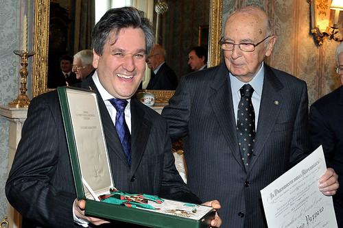 Antonio Pappano being awarded the honour of Cavaliere di Gran Croce by Italian President Giorgio Napolitano © Orchestra dell'Accademia Nazionale di Santa Cecilia 2012