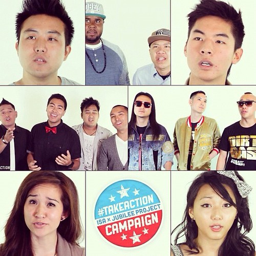 Legaci & friends @fareastmovement @kevjumba @davidchoimusic @yeeitscathy @claracmusic @timdelaghetto and more are participating in the #TakeAction Campaign. Watch here for more info: http://bit.ly/TakeActionVote (@isatv)