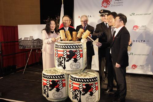 Ms. Yuki Tanaka, Executive Dir. Japan National Tourism Organization, Mr. Fumio Iwai, Deputy Consul General, Consulate of Japan in New York; Mr. Howard Permut, President, Metro-North Railroad; Delta Air Lines Rep; Mr. Masaki Ogata, Vice Chairman, JR East;