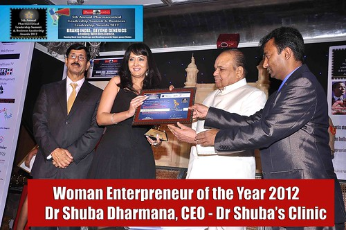 """Celebrity Cosmetologist Dr Shuba Dharmana Crowned """"Woman Entrepreneur of the Year 2012"""" at Asia's Biggest 5th Annual Pharmaceutical Leadership Summit & Business Leadership Awards 2012"""