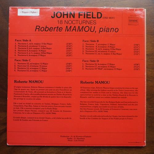 Backside John Field - 18 nocturnes - Roberte Mamou Piano, Pavane Records ADW 7110/1