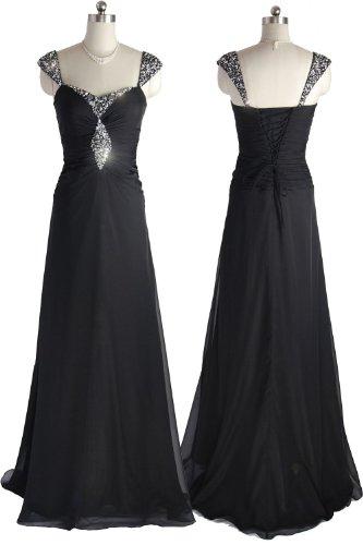 Qpid Showgirl Langes Abendkleid Glitzernde Verzierungen mit Schultergurt, Farbe schwarz, 1262BK (44, Schwarz) Big Rabatt