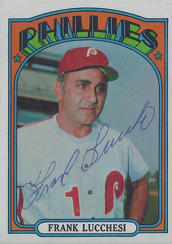 1972 Topps - Frank Lucchesi #188 (Manager) - Autographed Baseball Card (Philadelphia Phillies)