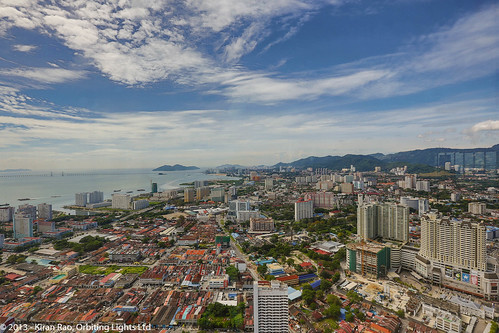 An arial view of Penang