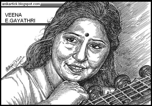 Veena Gayathri The Famous Veena Musician's Portrait Art