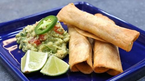 Flautas (or Taquitos) and Guacamole