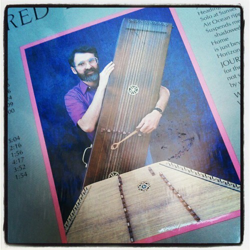 Sam Rizzetta and his dulcimers. Back cover photo from