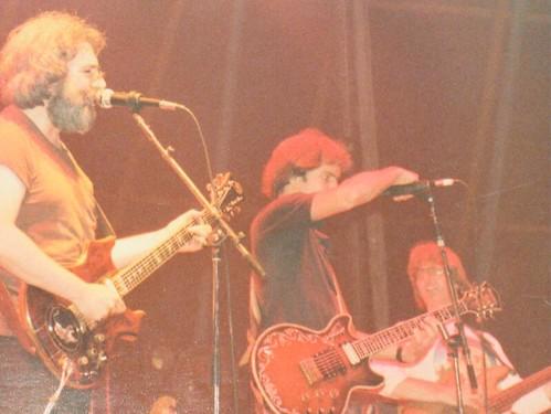 Paris France -- Grateful Dead front line, Jerry Garcia, Bob Weir, Phil Lesh - 1981 - Jon Hammond