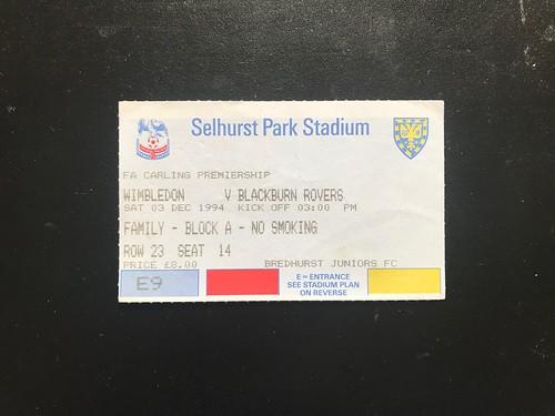 1994-95 Wimbledon 0 v 3 Blackburn Rovers