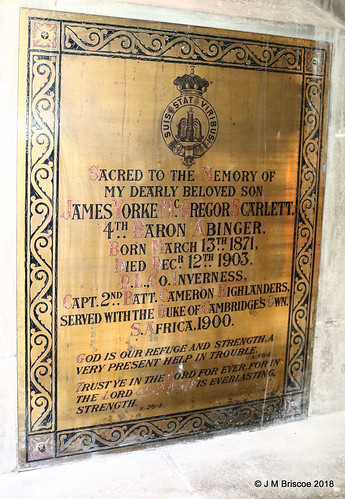 Memorial plaque to JAMES YORKE McGREGOR SCARLETT, St. Andrew's Episcopal Church, High Street, Fort William
