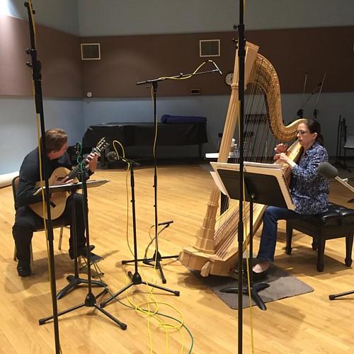 Cleveland in the house! Live on the air with Grammy Award winning guitarist Jason Vieaux and harpist Yolanda Kondonassis for Impromptu 98.7FM Chicago WFMT.com #classicalmusic #guitar #harp #wfmt #liveradiobroadcast #chicago #cleveland