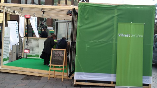 Outdoor electric heaters on the Green party stall